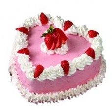 Luscious Strawberry Heart Cake