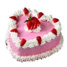 Luscious Strawberry Heart Cake