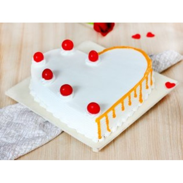 Cherry Heart Vanilla Cake