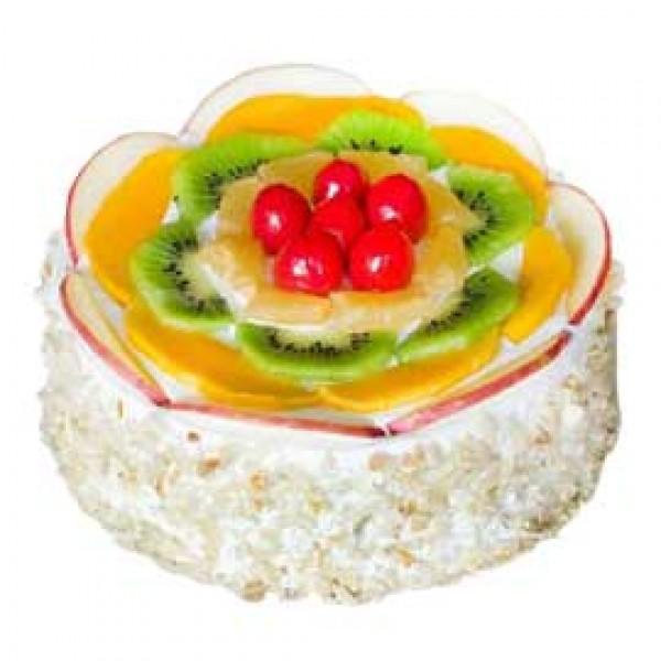 Vanilla Fruit Platter Cake